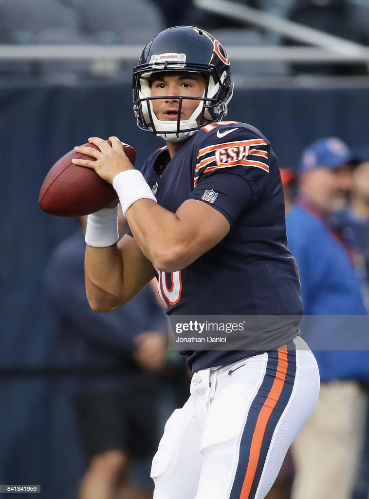 Mitchell Trubisky #10 of the Chicago Bears participates in warm-ups before a preseason game against the Cleveland Browns at Soldier Field on August 31, 2017 in Chicago, Illinois.