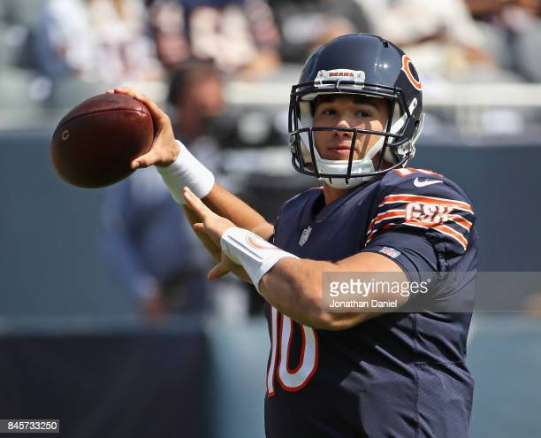 Mitchell Trubisky of the Chicago Bears participates in warmups before the season opening game against the Atlanta Falcons at Soldier Field on...