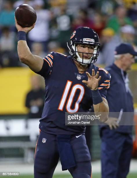 Mitchell Trubisky of the Chicago Bears participates in warmups before a agem against the Green Bay Packers at Lambeau Field on September 28 2017 in...