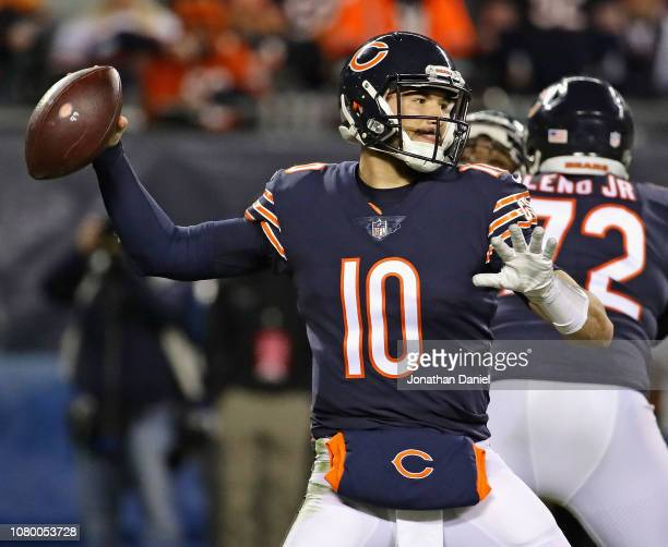 Mitchell Trubisky of the Chicago Bears passes against the Philadelphia Eagles during an NFC Wild Card playoff game at Soldier Field on January 6 2019...