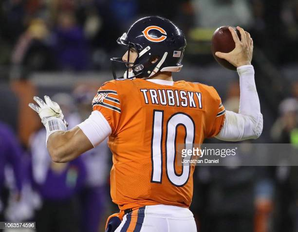 Mitchell Trubisky of the Chicago Bears passes against the Minnesota Vikings at Soldier Field on November 18 2018 in Chicago Illinois The Bears...