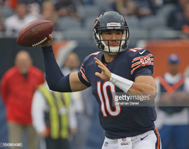 Mitchell Trubisky of the Chicago Bears passes against the Tampa Bay Buccaneers at Soldier Field on September 30 2018 in Chicago Illinois