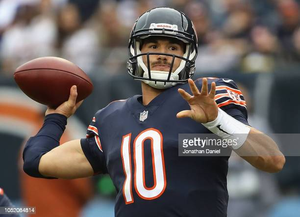 Mitchell Trubisky of the Chicago Bears passes against the Tampa Bay Buccaneers at Soldier Field on September 30 2018 in Chicago Illinois The Bears...