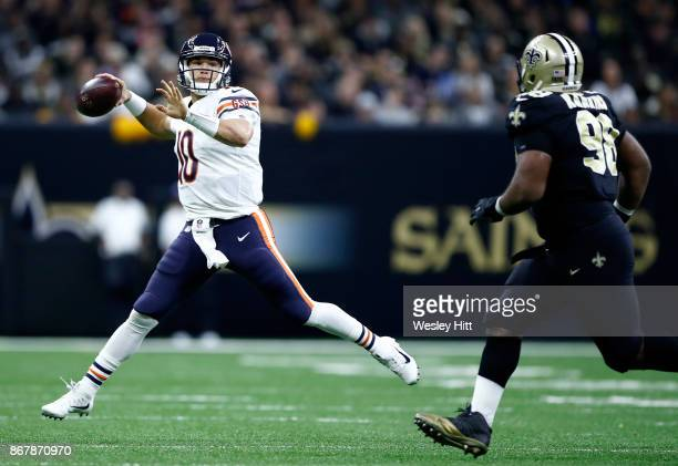 Mitchell Trubisky of the Chicago Bears passes the ball against the New Orleans Saints during the second quarter at the MercedesBenz Superdome on...