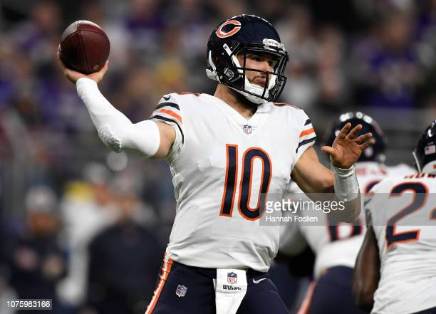 Mitchell Trubisky of the Chicago Bears passes the ball in the second quarter of the game against the Minnesota Vikings at US Bank Stadium on December...