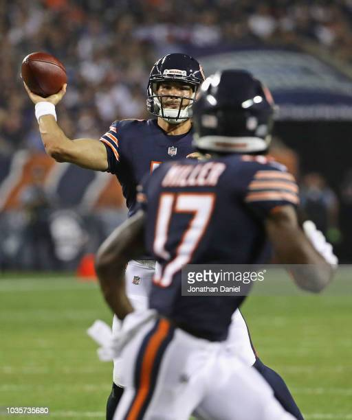 Mitchell Trubisky of the Chicago Bears passes to Anthony Miller against the Seattle Seahawks at Soldier Field on September 17 2018 in Chicago...