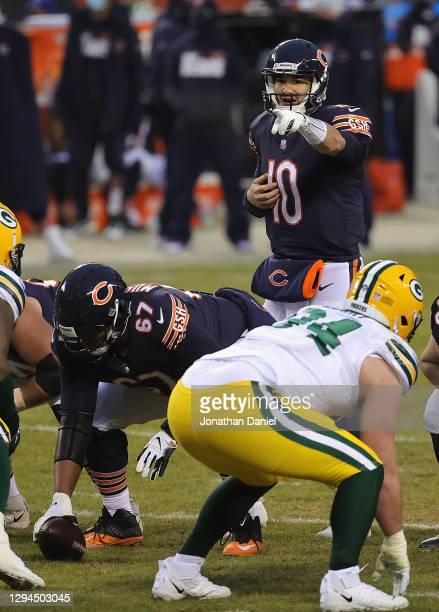 Mitchell Trubisky of the Chicago Bears points out a defensive formation by the Green Bay Packer defense at Soldier Field on January 03, 2021 in...