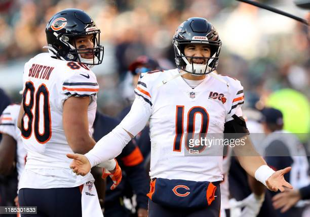 Mitchell Trubisky of the Chicago Bears reacts after it is ruled that Tarik Cohen was short of the goal line in the fourth quarter against the...