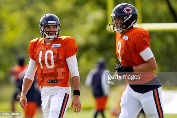 Mitchell Trubisky of the Chicago Bears talks with Nick Foles during training camp at Halas Hall on August 18, 2020 in Lake Forest, Illinois.