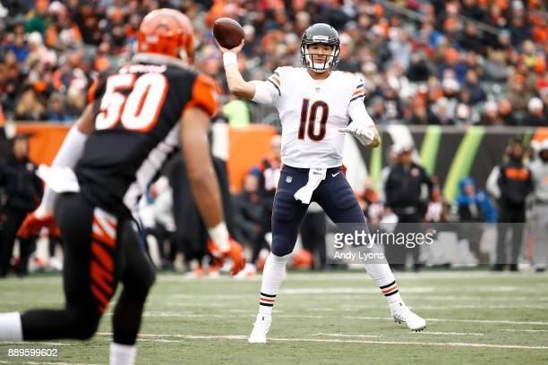 Mitchell Trubisky of the Chicago Bears throws a pass against the Cincinnati Bengals during the first half at Paul Brown Stadium on December 10 2017...