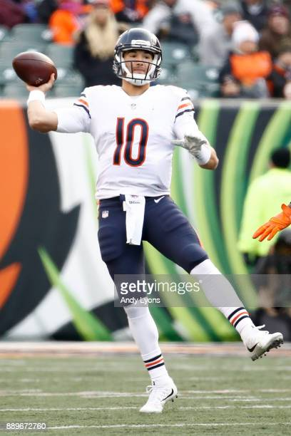 Mitchell Trubisky of the Chicago Bears throws a pass against the Cincinnati Bengals during the second half at Paul Brown Stadium on December 10 2017...