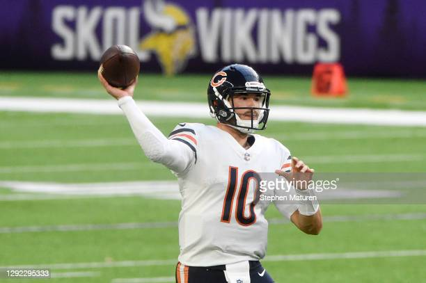 Mitchell Trubisky of the Chicago Bears throws a pass during the second half against the Minnesota Vikings at U.S. Bank Stadium on December 20, 2020...
