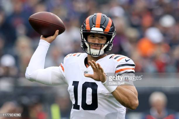 Mitchell Trubisky of the Chicago Bears throws a pass in the first quarter against the Minnesota Vikings at Soldier Field on September 29 2019 in...