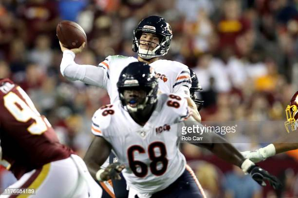 Mitchell Trubisky of the Chicago Bears throws a second quarter touchdown against the Washington Redskins in the game at FedExField on September 23,...