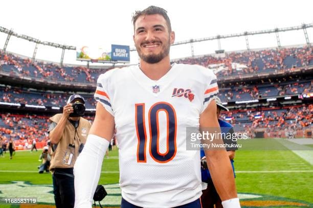 Mitchell Trubisky of the Chicago Bears walks off the field after defeating the Denver Broncos 16-14 at Empower Field at Mile High on September 15,...