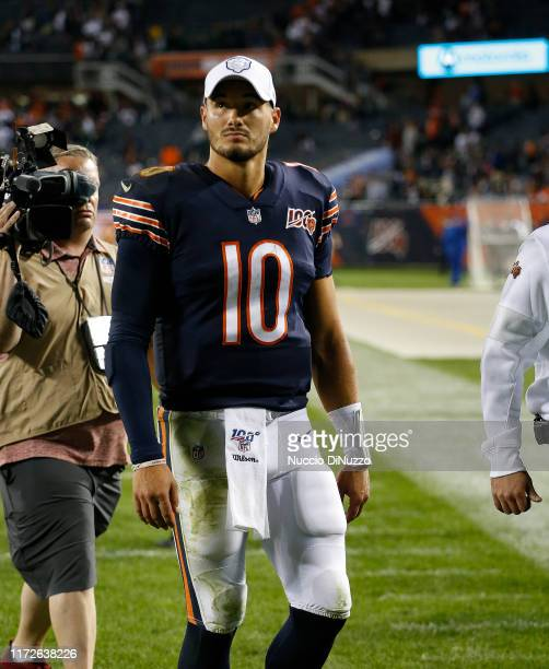 Mitchell Trubisky of the Chicago Bears walks off the field following his team's 10-3 loss to the Green Bay Packers at Soldier Field on September 05,...