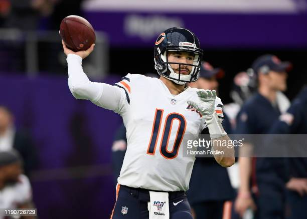 Mitchell Trubisky of the Chicago Bears warms up before the game against the Minnesota Vikings at US Bank Stadium on December 29 2019 in Minneapolis...