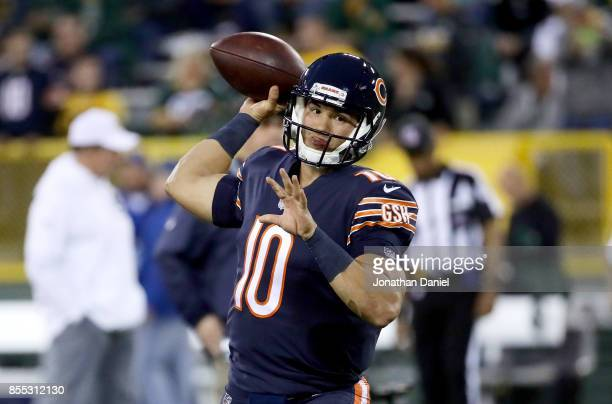 Mitchell Trubisky of the Chicago Bears warms up before the game against the Green Bay Packers at Lambeau Field on September 28 2017 in Green Bay...