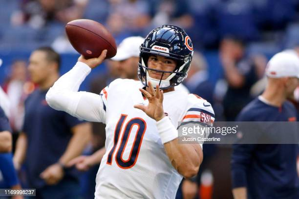 Mitchell Trubisky of the Chicago Bears warms up before the preseason game against the Indianapolis Colts at Lucas Oil Stadium on August 24 2019 in...