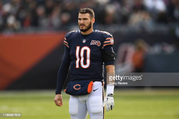 Mitchell Trubisky of the Chicago Bears warms up during a game against the New York Giants at Soldier Field on November 24, 2019 in Chicago, Illinois....