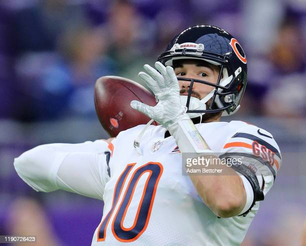 Mitchell Trubisky of the Chicago Bears warms up in the pregame against the hj at US Bank Stadium on December 29 2019 in Minneapolis Minnesota