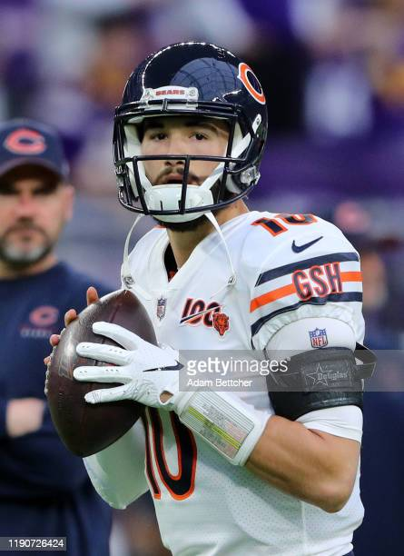 Mitchell Trubisky of the Chicago Bears warms up in the pregame against the \hj\ at U.S. Bank Stadium on December 29, 2019 in Minneapolis, Minnesota.