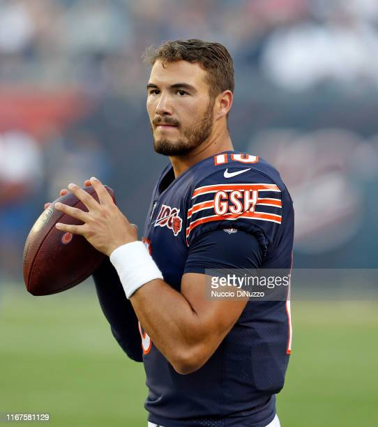 Mitchell Trubisky of the Chicago Bears warms up prior to a preseason game against the Carolina Panthers at Soldier Field on August 08 2019 in Chicago...