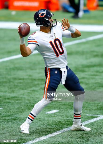 Mitchell Trubisky of the Chicago Bears warms up prior to an NFL game against the Atlanta Falcons at Mercedes-Benz Stadium on September 27, 2020 in...