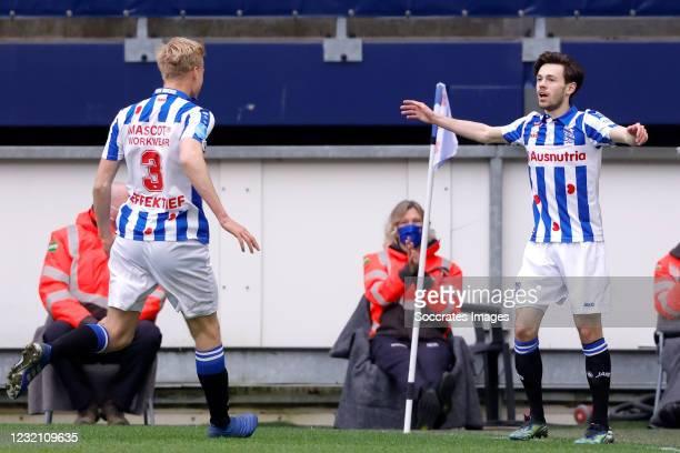 Mitchell van Bergen of SC Heerenveen celebrates 1-0 with Jan Paul van Hecke of SC Heerenveen during the Dutch Eredivisie match between SC Heerenveen...