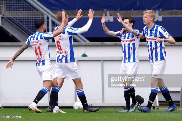 Mitchell van Bergen of SC Heerenveen celebrates 1-0 with Jan Paul van Hecke of SC Heerenveen Rami Kaib of SC Heerenveen, Siem de Jong of SC...