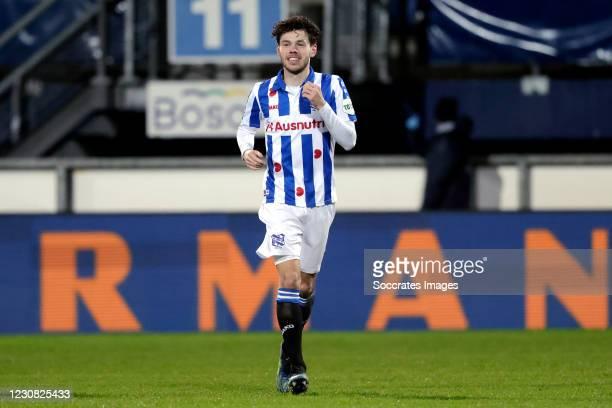 Mitchell van Bergen of SC Heerenveen celebrates 3-0 during the Dutch Eredivisie match between SC Heerenveen v Feyenoord at the Abe Lenstra Stadium on...