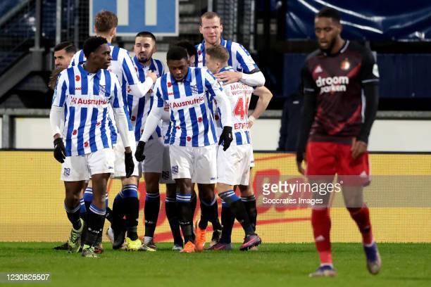 Mitchell van Bergen of SC Heerenveen celebrates 3-0 with Joey Veerman of SC Heerenveen, Henk Veerman of SC Heerenveen, Ibrahim Dresevic of SC...