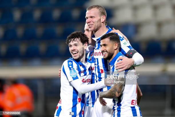 Mitchell van Bergen of SC Heerenveen celebrates after scoring his team's third goal during the Dutch Eredivisie match between SC Heerenveen and...