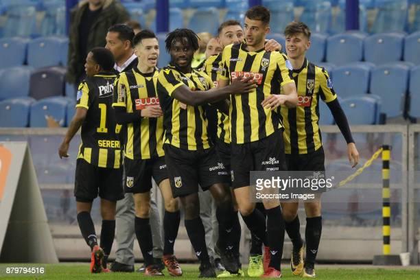 Mitchell van Bergen of Vitesse Fankaty Dabo of Vitesse Matt Miazga of Vitesse celebrate the 10 during the Dutch Eredivisie match between Vitesse v...