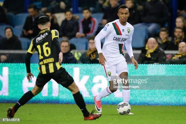 Mitchell van Bergen of Vitesse Melvyn Lorenzen of ADO Den Haag during the Dutch Eredivisie match between Vitesse v ADO Den Haag at the GelreDome on...