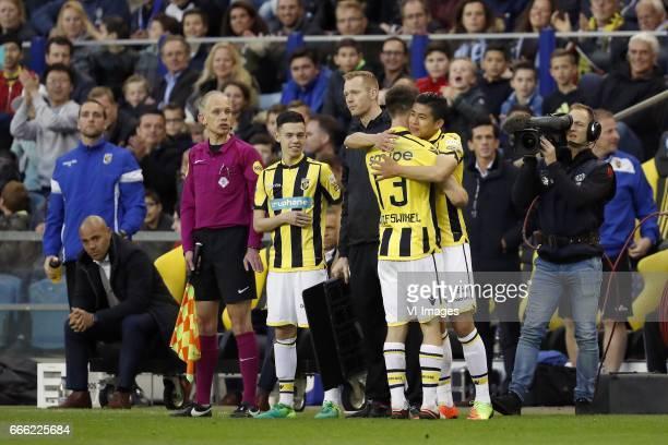 Mitchell van Bergen of Vitesse Ricky van Wolfswinkel of Vitesse Yuning Zhang of Vitesseduring the Dutch Eredivisie match between Vitesse Arnhem and...
