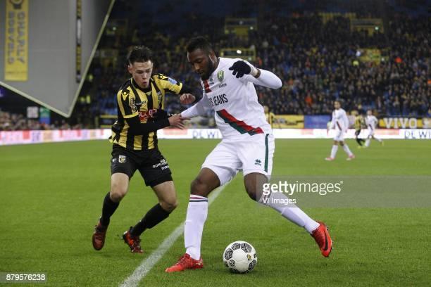 Mitchell van Bergen of Vitesse Tyrone Ebuehi of ADO Den Haag during the Dutch Eredivisie match between Vitesse Arnhem and ADO Den Haag at Gelredome...