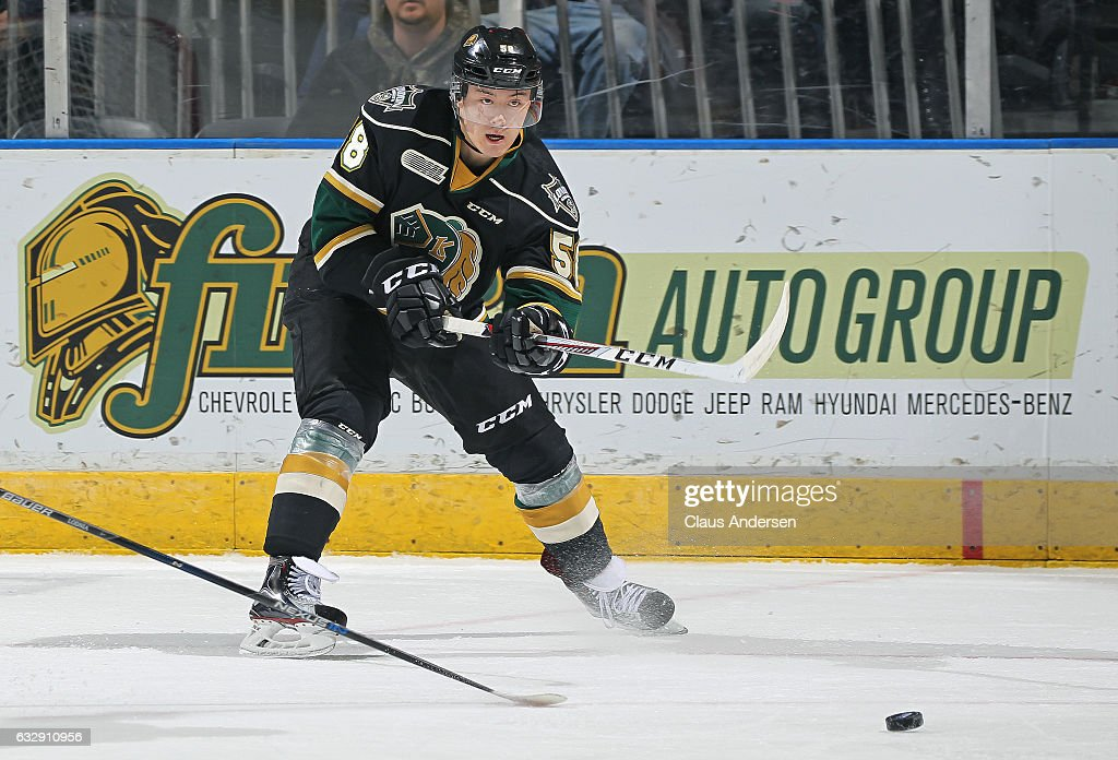 Mitchell Vande Sompel #58 of the London Knights fires a pass against the Erie Otters during an OHL game at Budweiser Gardens on January 27, 2017 in London, Ontario, Canada. The Otters defeated the Knight 5-3.