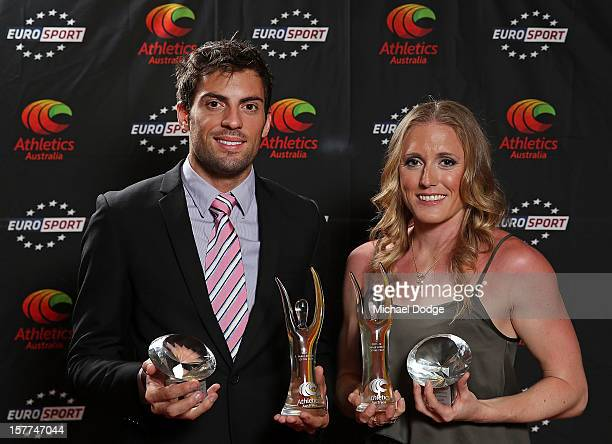 Mitchell Watt and Sally Pearson with their awards at the 2012 Australian Athlete of the Year Awards at Crown Casino on December 6 2012 in Melbourne...