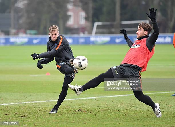 Mitchell Weiser and Alexander Baumjohann of Hertha BSC during the training on december 14 2016 in Berlin Germany