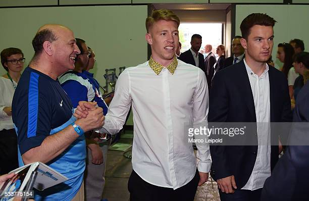 Mitchell Weiser and Alexander Baumjohann of Hertha BSC during the members meeting on May 23 2016 in Berlin Germany