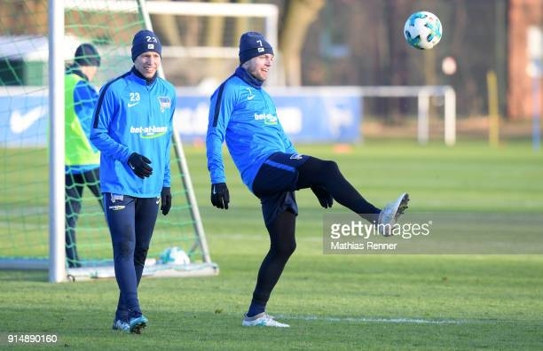 Mitchell Weiser and Alexander Esswein of Hertha BSC during the training session at the Schenkendorfplatz on February 6 2018 in Berlin Germany