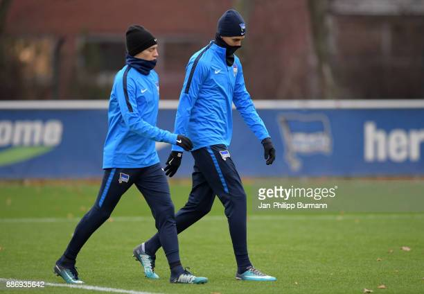 Mitchell Weiser and Davie Selke of Hertha BSC during a training session on December 6 2017 in Berlin Germany