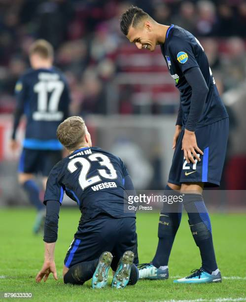 Mitchell Weiser and Davie Selke of Hertha BSC during the game between 1 FC Koeln and Hertha BSC on November 26 2017 in Koeln Germany