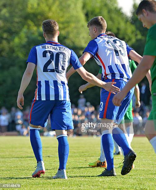 Mitchell Weiser and Jens Hegeler of Hertha BSC during the game between dem 1. FC Luebars and Hertha BSC on July 1, 2015 in Berlin, Germany.