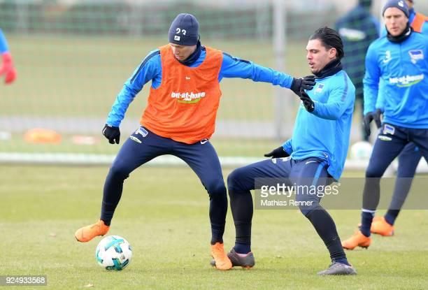 Mitchell Weiser and Karim Rekik of Hertha BSC during a training session at Schenkendorfplatz on February 27 2018 in Berlin Germany