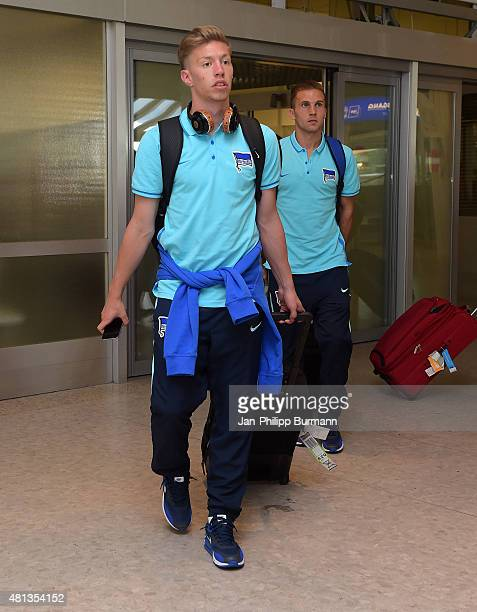 Mitchell Weiser and Peter Pekarik of Hertha BSC during their arrival at Salzburg Airport ahead of the training camp in Schladming on July 19 2015 in...