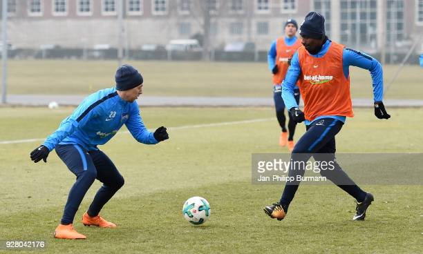 Mitchell Weiser and Salomon Kalou of Hertha BSC during the training session at the Schenkendorfplatz on march 6 2018 in Berlin Germany