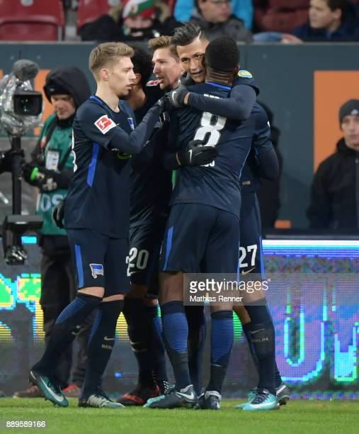 Mitchell Weiser Niklas Stark Davie Selke and Salomon Kalou of Hertha BSC celebrate after scoring the 11 during the game between dem FC Augsburg and...
