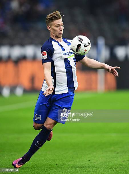 Mitchell Weiser of Berlin in action during the Bundesliga match between Hertha BSC and Hamburger SV at Olympiastadion on October 1 2016 in Berlin...
